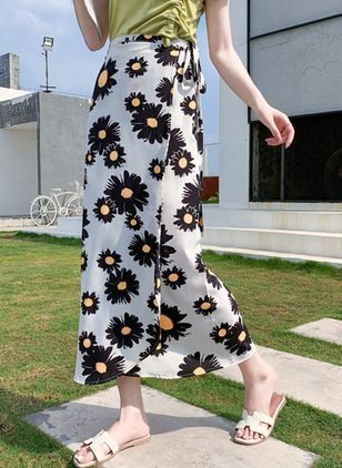 Floral Maxi Casual Sashes Skirts (4135593)