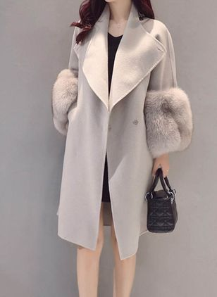 Long Sleeve Lapel Coats (107562008)