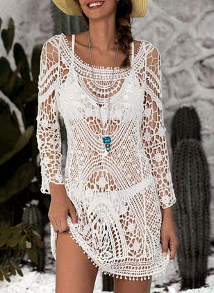 Polyester Crochet Cover-Ups Swimwear (1338365)
