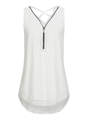 Solid Casual Polyester V-Neckline Sleeveless Blouses