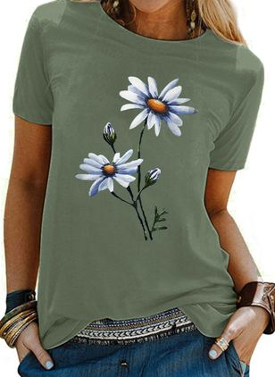 Floral Round Neck Short Sleeve Casual T-shirts (147425060)