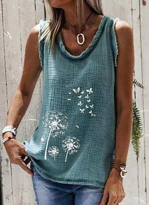 Floral Round Neck Sleeveless Casual T-shirts (146979309)