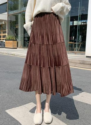 Solid Mid-Calf Casual Skirts (146775315)