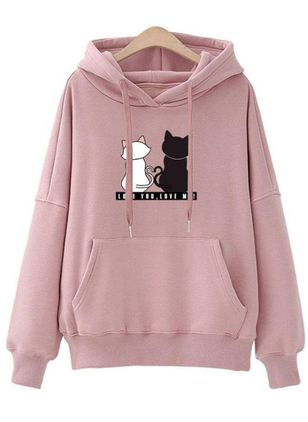 Animal Casual Round Neckline Pockets Sweatshirts (107563058)