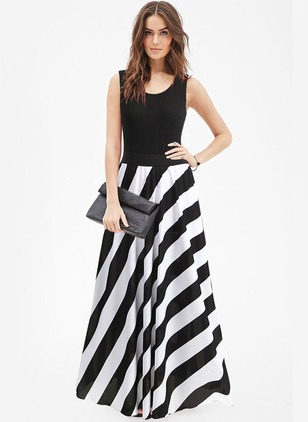 Color Block Ruffles Skater Maxi A-line Dress