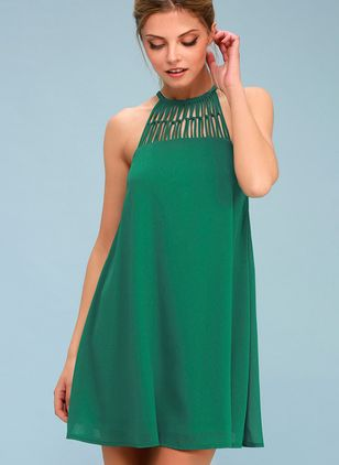 Solid Hollow Out Sleeveless Above Knee Shift Dress
