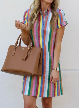 Trendy Stripe Tunic Collar Shift Dress (4348805)