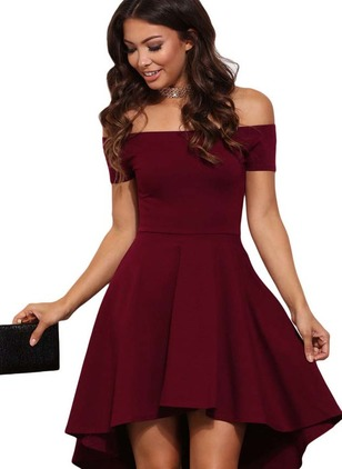 Solid Skater Short Sleeve Above Knee A-line Dress