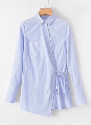 Stripe Buttons Shirt Collar Shift Dress