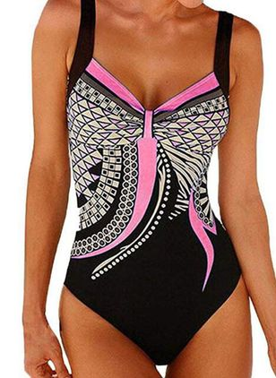 Polyester Color Block One-piece Swimwear (1482027)
