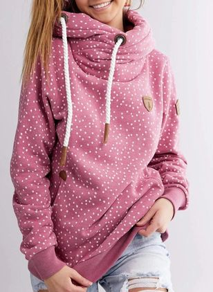 Polka Dot Casual Hooded Pockets Sweatshirts (120649351)