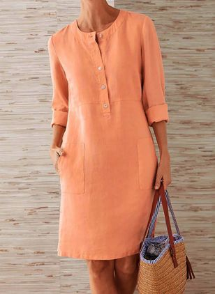 Casual Solid Tunic Round Neckline Shift Dress (1357928)