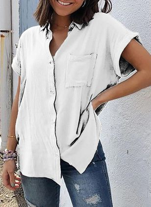 Solid Casual Collar Short Sleeve Blouses (5242932)
