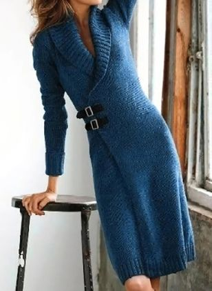 Casual Solid Sweater V-Neckline X-line Dress (122028975)