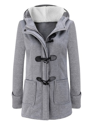 Cotton & Cotton Blend Long Sleeve Hooded Buttons Pockets Coats