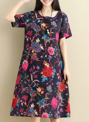 Floral Pockets Short Sleeve Midi Shift Dress
