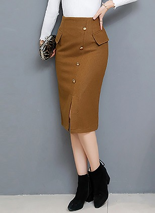 Wool Solid Mid-Calf Casual Pockets Buttons Zipper Skirts