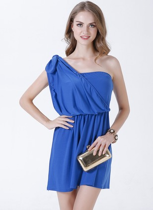 Cotton Blends Solid Sleeveless Above Knee Casual Dresses