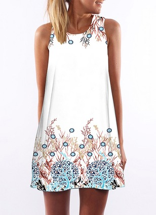 Floral Tank Sleeveless Shift Dress