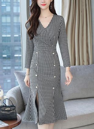 Plaid Ruffles Pencil Midi Sheath Dress