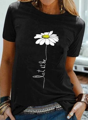 Floral Round Neck Short Sleeve Summer T-shirts (4864529)