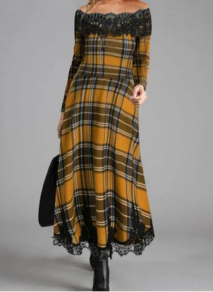 Elegant Plaid Round Neckline Maxi X-line Dress (118206957)