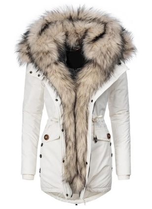 Long Sleeve Hooded Zipper Pockets Removable Fur Collar Parkas Coats (146700622)