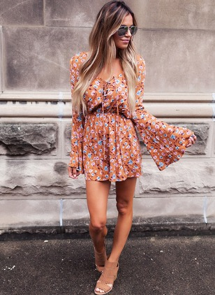Chiffon Floral Long Sleeve Flare Sleeve Jumpsuits & Rompers