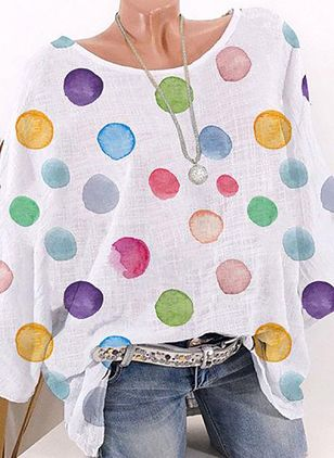 Polka Dot Casual Round Neckline Long Sleeve Blouses (4073236)