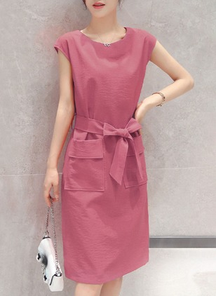 Solid Pockets Cap Sleeve Knee-Length Shift Dress