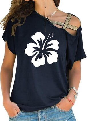 Floral Oblique Neckline Short Sleeve Casual T-shirts (146964138)