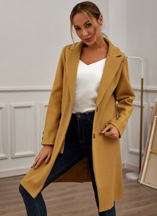 Long Sleeve Buttons Trench Coats (128229535)