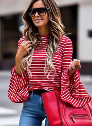 Stripe Round Neck Long Sleeve Casual T-shirts