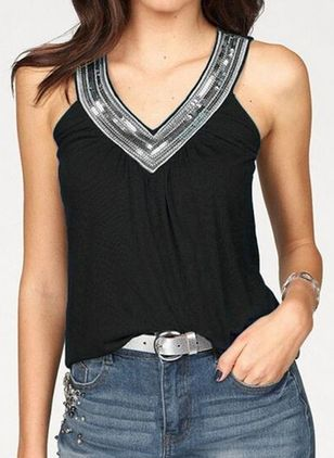 Color Block Halter Neckline Sleeveless Casual T-shirts (1515085)