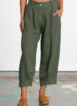 Casual Loose Buttons Pockets Mid Waist Polyester Pants (147077184)