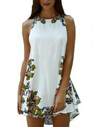 Cotton Floral Sleeveless Above Knee Casual Dresses