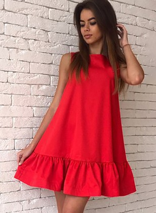 Solid Sleeveless Above Knee Shift Dress