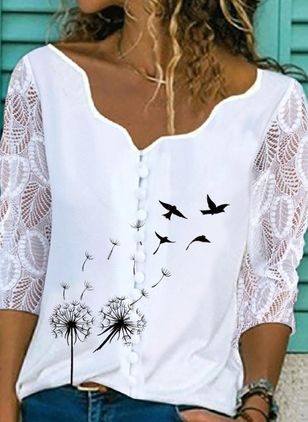 Animal Casual V-Neckline 3/4 Sleeves Blouses (104534377)
