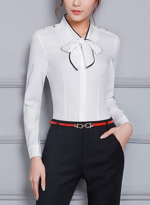 Color Block Elegant V-Neckline Short Sleeve Blouses