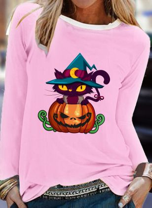Animal Round Neck Long Sleeve Halloween T-shirts (108859025)