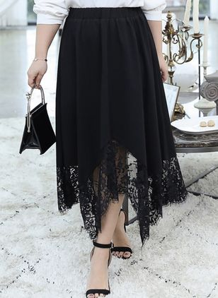 Solid Mid-Calf Casual Lace Skirts (100547307)