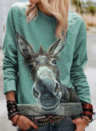 Round Neckline Animal Casual Loose Regular Shift Sweaters (111109971)