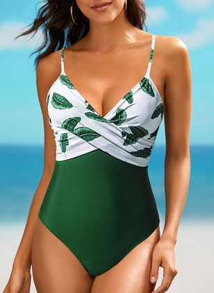 Polyester Pattern One-piece Swimwear (146960119)