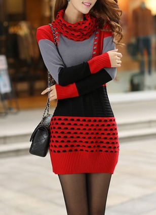 Cotton Blends Color Block Long Sleeve Above Knee Dresses