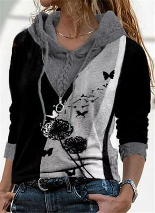 Round Neckline Floral Casual Regular Zipper Sweaters (146901516)