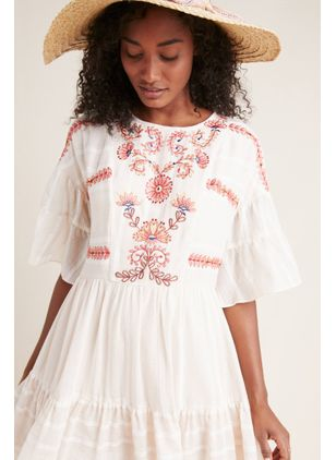 Floral Buttons Half Sleeve Above Knee Shift Dress