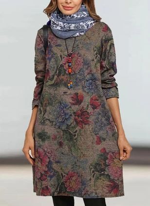Casual Floral Tunic Round Neckline Shift Dress (107562375)