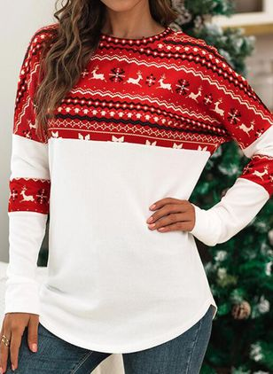 Animal Christmas Round Neckline Long Sleeve Blouses (128229432)
