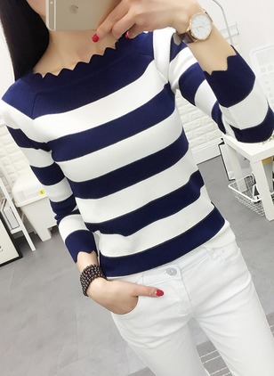Round Neckline Stripe Tight Others Sweaters