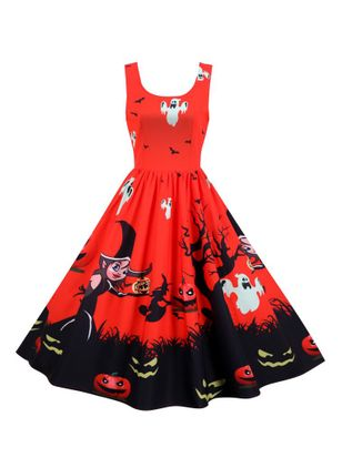 Halloween Color Block Round Neckline Midi X-line Dress (109973465)